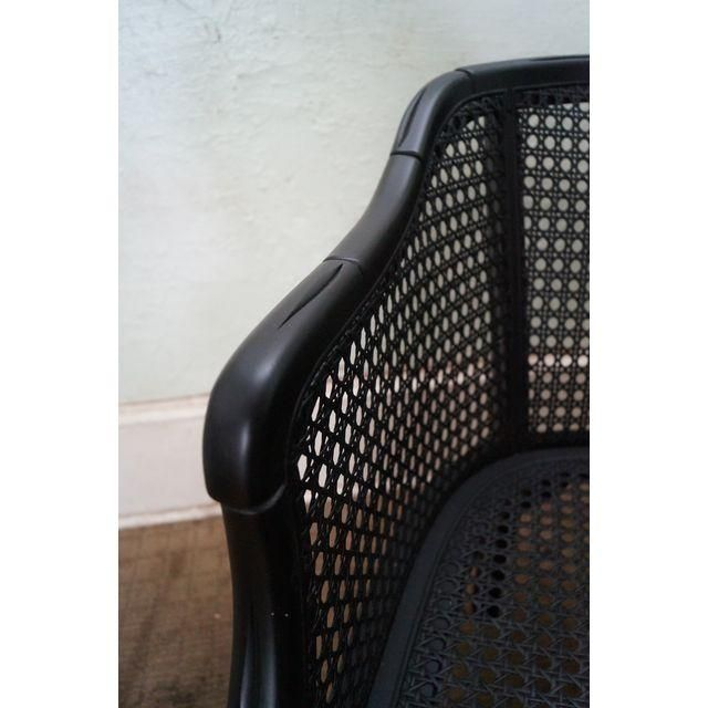 Image of Hollywood Regency Black Faux Bamboo Caned Settee