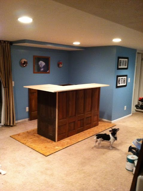 Build A Home Bar Using Recycled Materials Is An Inexpensive Way To Do It  This Is The Finished Bar Using Doors And Grea... | Pinterest | Bar