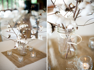 Dried Cotton Stalk Mason Jars Burlap And Candle Light Centerpieces