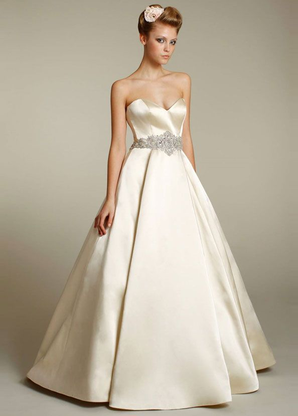 a086d333875 LAZARO  Antique silk faced satin bridal ball gown