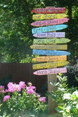 Vacation signs.  Make signs for where you have gone on vacation and post them in your garden.  Cute idea!