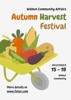 Want to make an online Autumn Harvest Festival Poster This Autumn Harvest Festival Poster template is a great help for you If you are interested just click the link and b...