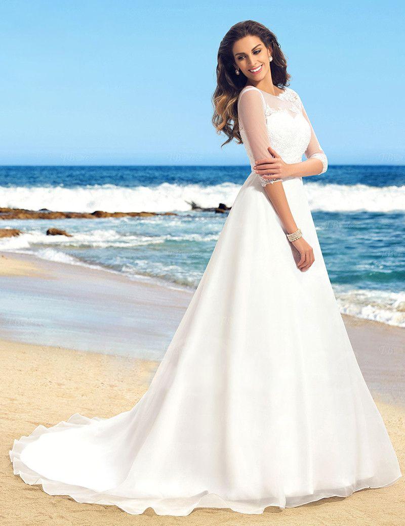 Elegant Bride Dress Scoop Neck Beaded Half Sleeve Court Train ...