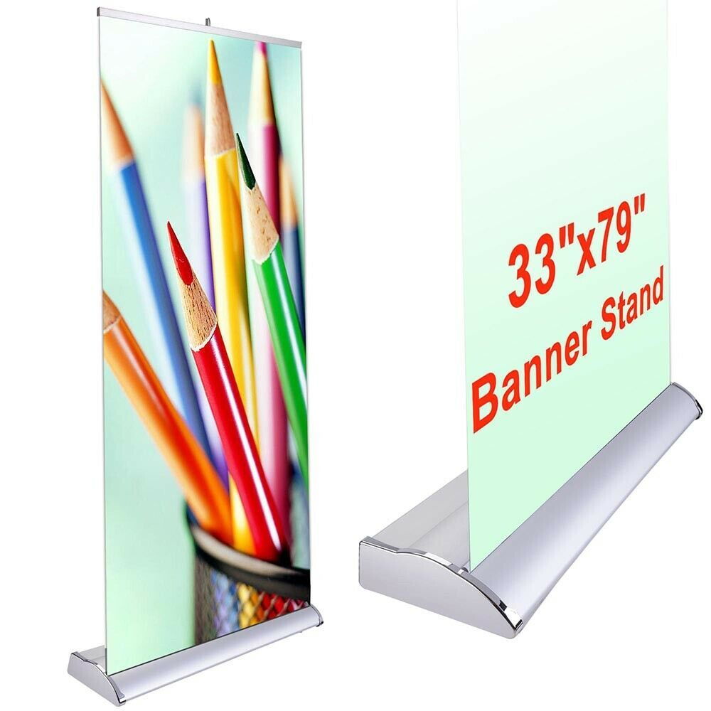 """(Sponsored)(eBay) 33x79"""" Retractable Rollup Banner Stand Trade Show Display Sign..."""