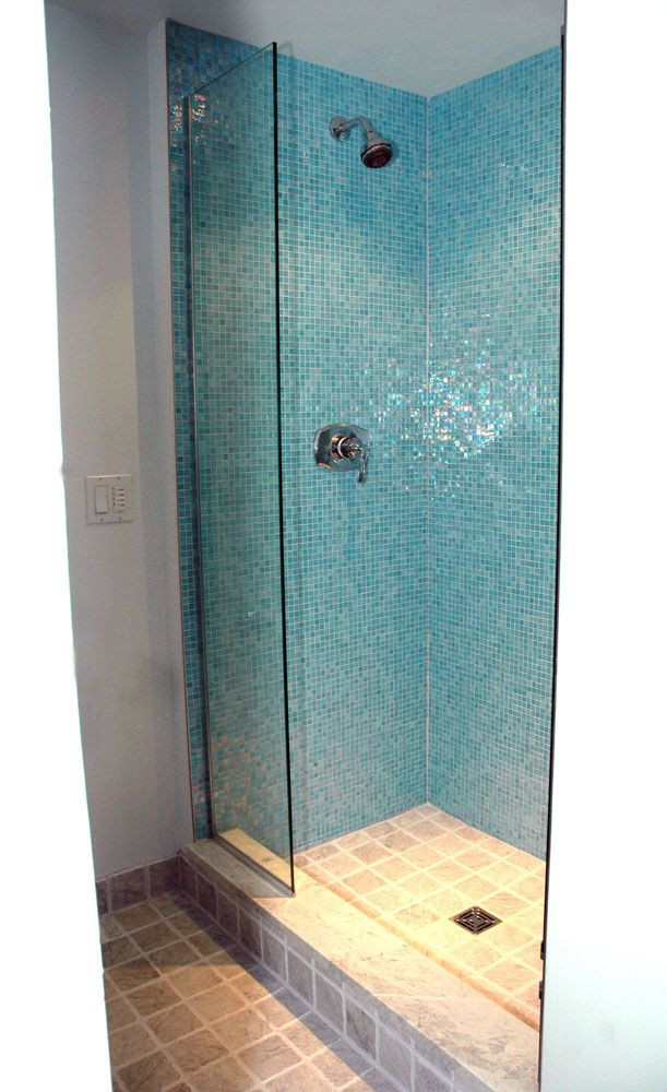 Blue Green Mosaic Tile Shower Wall Google Search