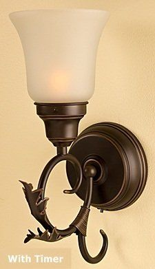 battery operated no wiring rubbed oil bronze battery wall sconce with timer by candle. Black Bedroom Furniture Sets. Home Design Ideas