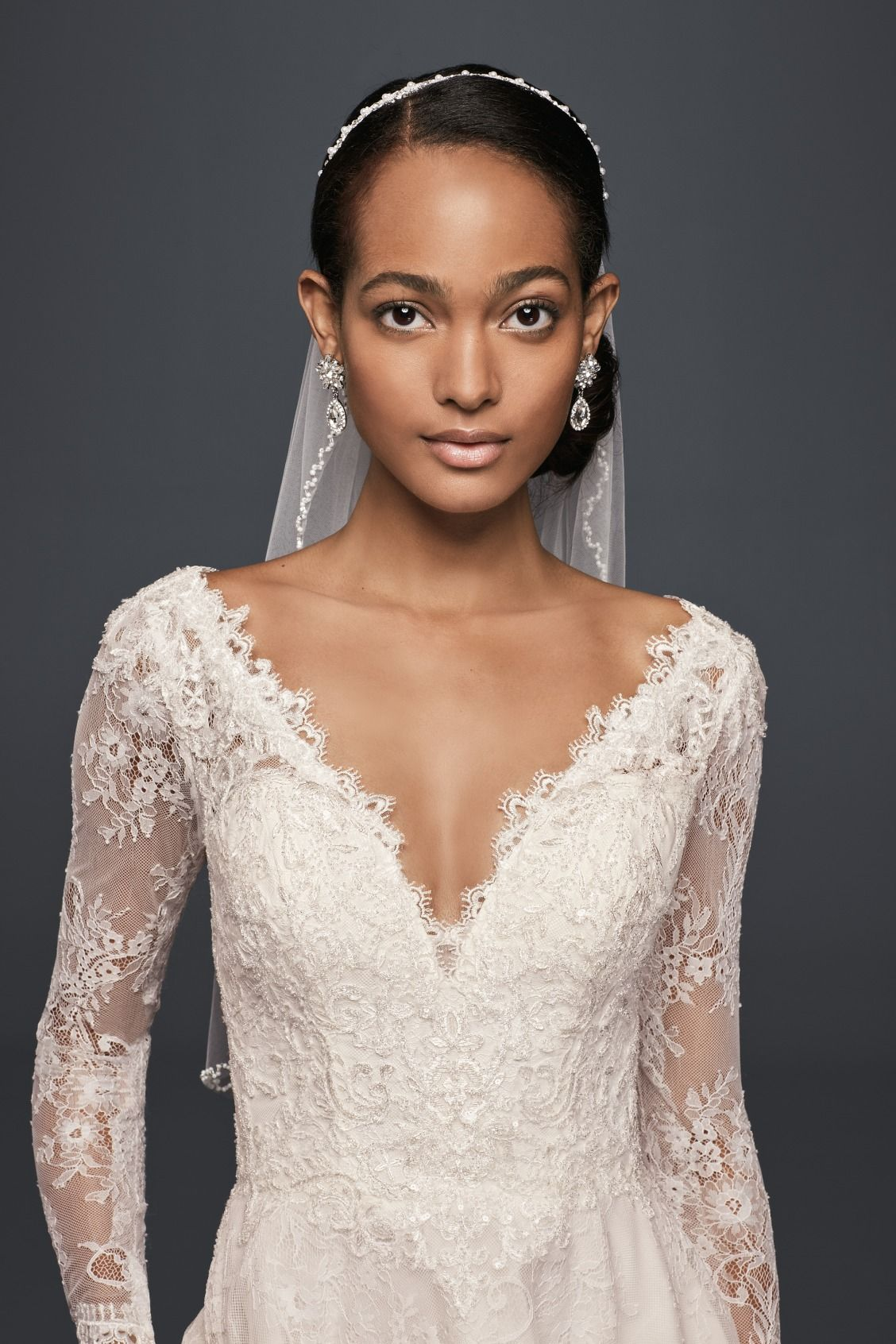 Long sleeve v neckline high low chantilly lace wedding for Long sleeve high low wedding dresses
