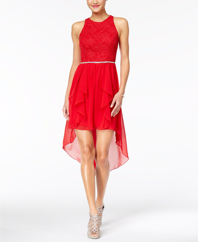 City Studios Juniors' Lace High Low Dress | | High