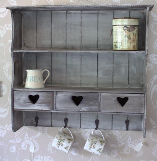 Grey Vintage Shabby Shelf Unit Heart