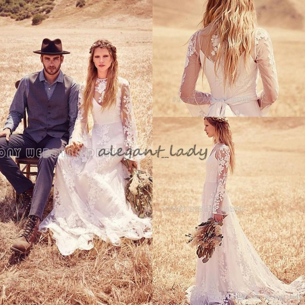 Long Sleeve Lace Bohemian Hippie Wedding Dresses 2018 Retro Vintage Country Holiday Free People Bridal Reception