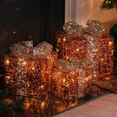 Pre-Lit Bronze Glitz Gift, Set of 3 Front Porch Pinterest