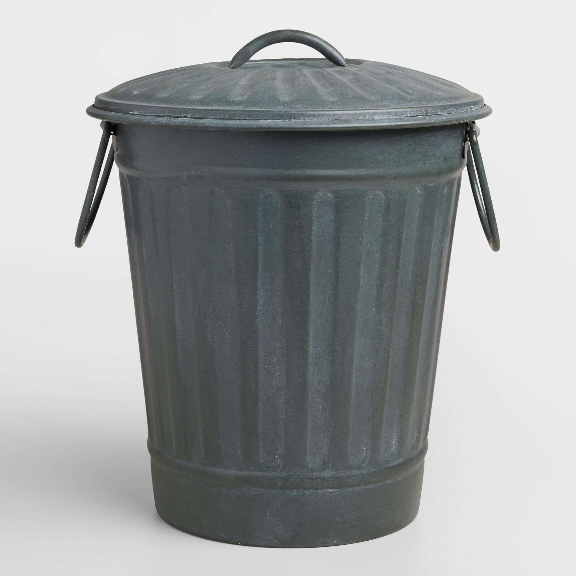Steel Gray Retro Metal Trash Can By World Market Products