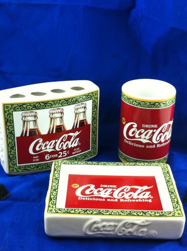 Coca Cola Bathroom Set Toothbrush Holder Cup Soap Dish E 3 Pc Ebay