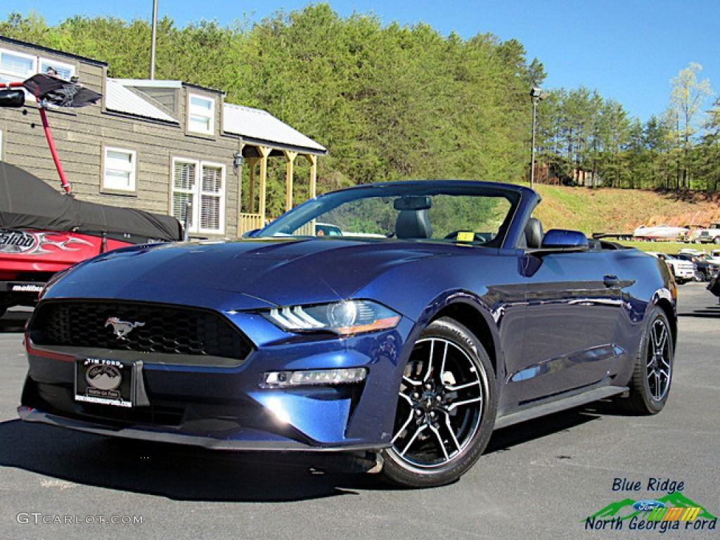 2018 Mustang Ecoboost Convertible Kona Blue Ebony Photo 1 Mustang Ecoboost Mustang Convertible Blue Mustang