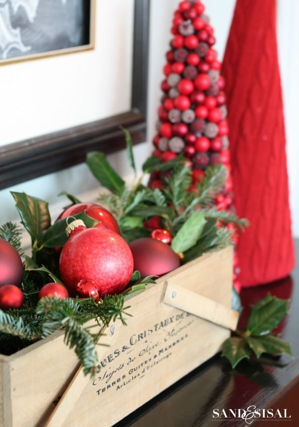 Easy Christmas Decor - Red Ornaments - Christmas Home Tour