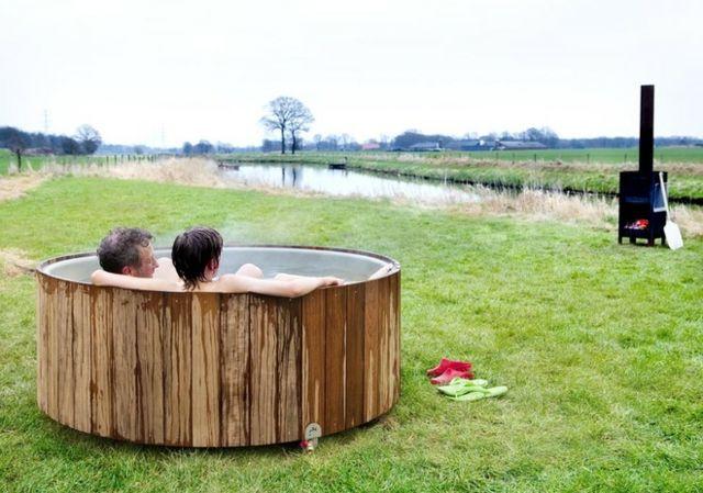 Winter Outdoor Hot Tub genießen Holz Ofen Garten Pinterest