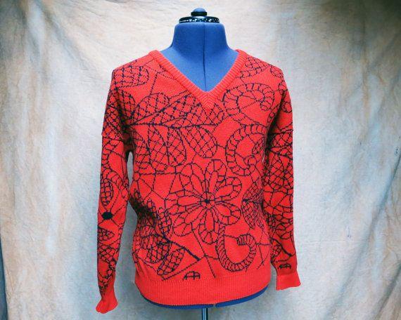 Bright Orange V-Neck Sweater with Floral by HiddenRiverFindsCo