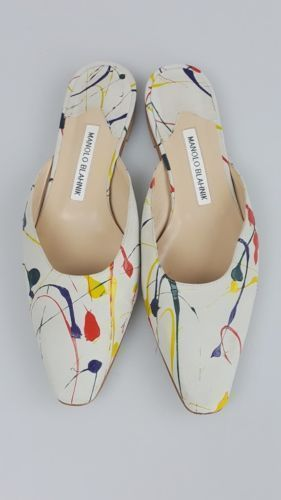 Manolo-Blahnik-Grey-Suede-Paint-Splattered-Magic-Mules-Slides-Shoes-Size-39-5 #slidesshoes