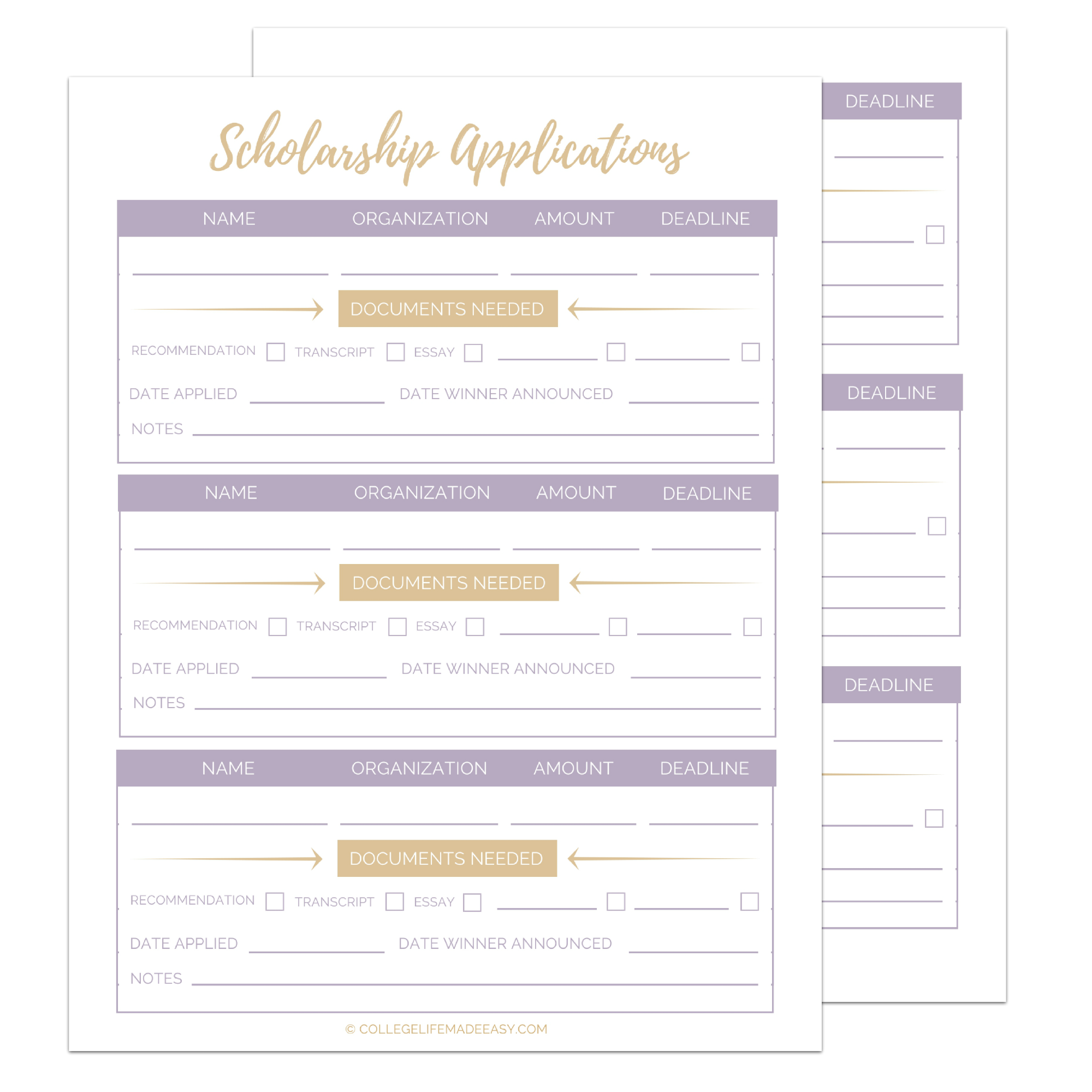 photograph about Printable Scholarship Applications named Free of charge Printable Scholarship Software program Tracker Worksheets