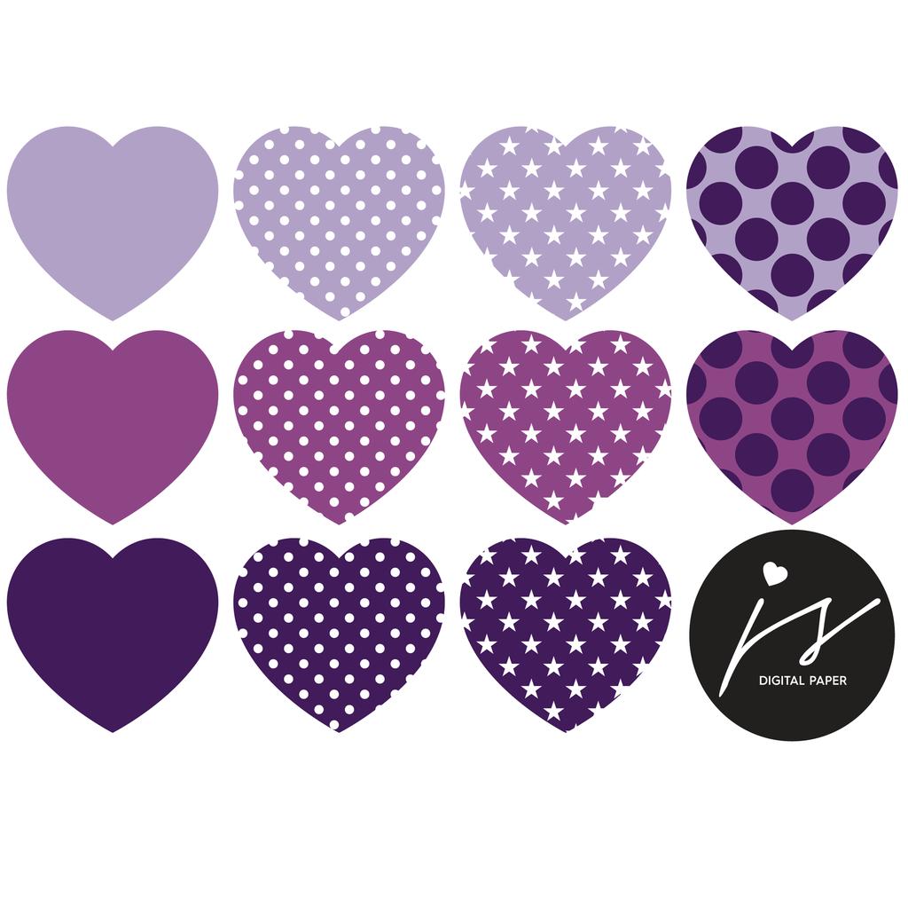 Heart Clip Art Valentines Day Clipart With Polka Dots And Stars Dark And Light Purple Cl 226 Namorada Criativa Criatividade