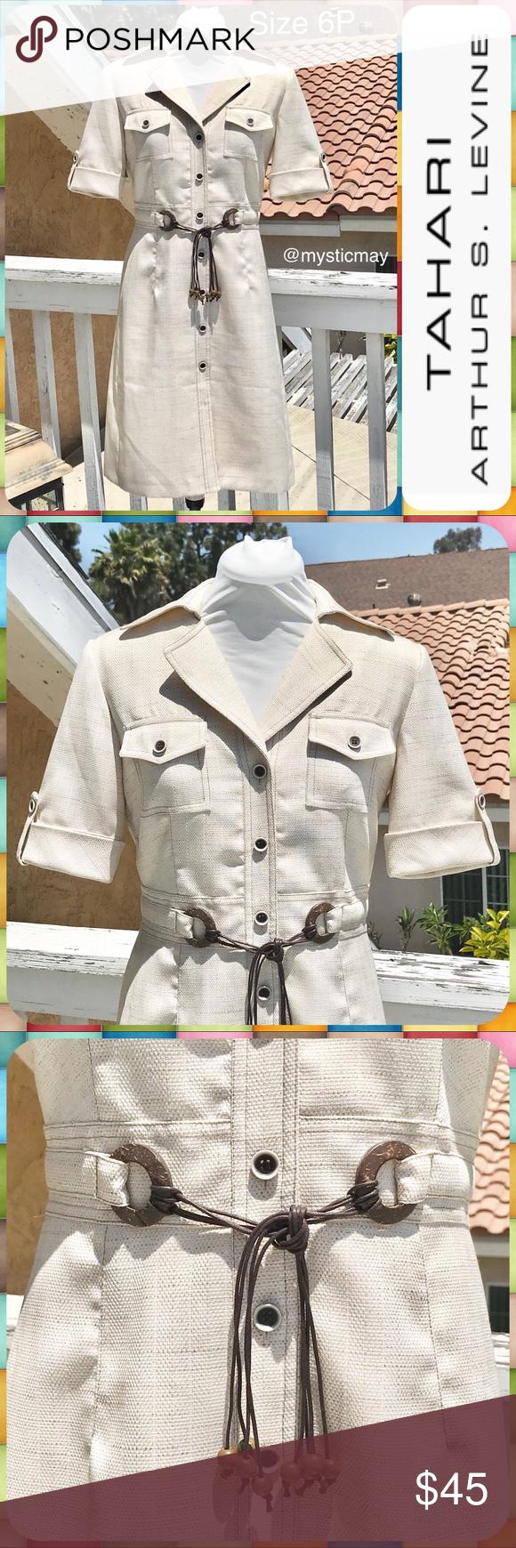 2271ed85beeba TAHARI ASL Beige Woven Belted Shirt Dress Sz 6P Gorgeous Shirt Dress from  Tahari ASL with