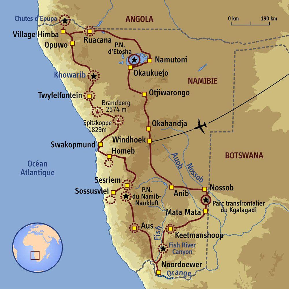 carte de la namibie carte Namibie   Total trip en Namibie | Namibie voyage, Namibie