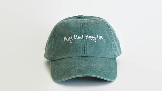 5f7b64dc16b732 Happy Mind Happy Life, Dad Hats, Baseball Hat, Baseball Cap, Tumblr Hats,Trending  Hat,Low Profile Hat,6 Panel Hat,Distressed Hats, Green Hat