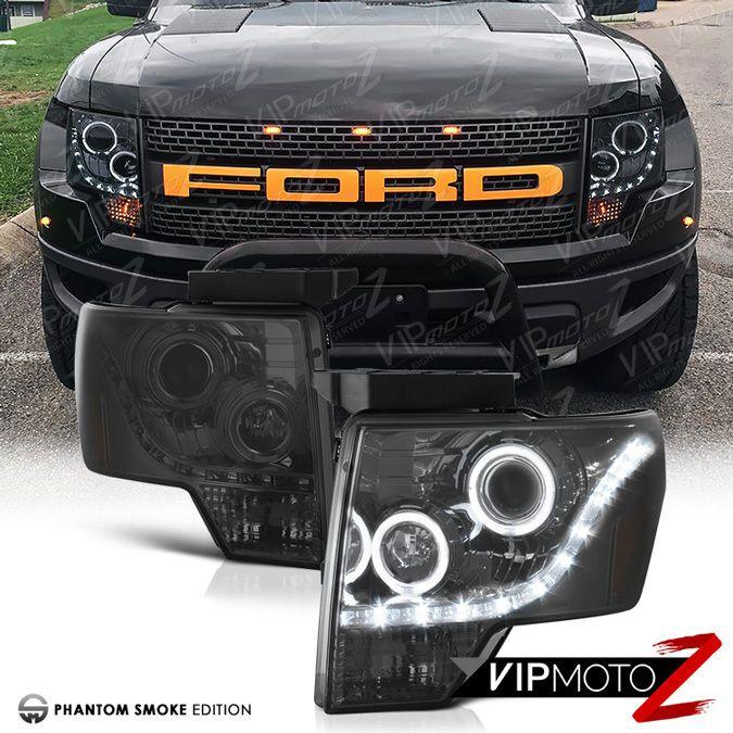Smoke 2009 2014 Ford F150 Dark Tinted Led Strip Halo Projector Headlights Lamps Ford F150 Projector Headlights 2014 Ford F150