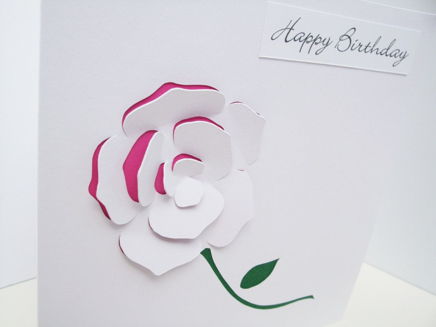 Rose Birthday Card Paper Cut Personalised Card Handmade