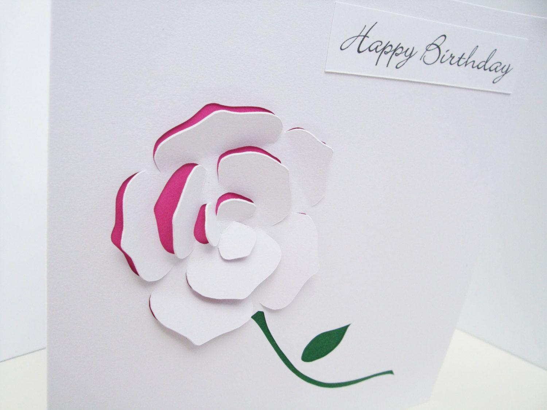 Rose birthday card paper cut personalised card handmade
