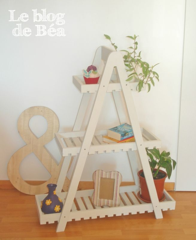 pas pas pour fabriquer une tag re style escabeau en bois de palette le blog de b a d co. Black Bedroom Furniture Sets. Home Design Ideas