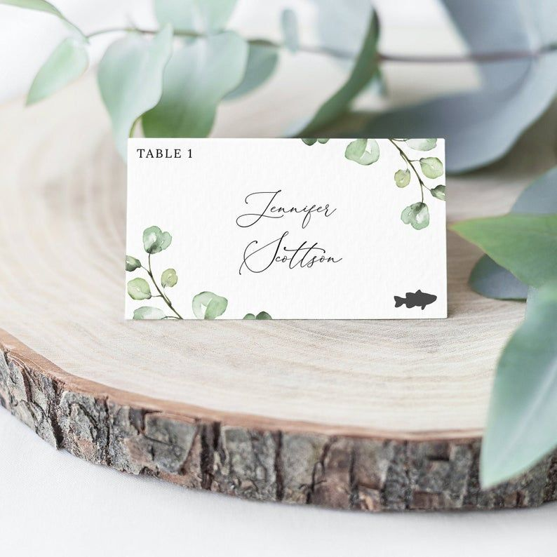 Eucalyptus Wedding Flat And Tent Folded Place Cards Template Bohemian Wedding Pl Place Cards Wedding Diy Wedding Place Cards Free Wedding Invitation Templates