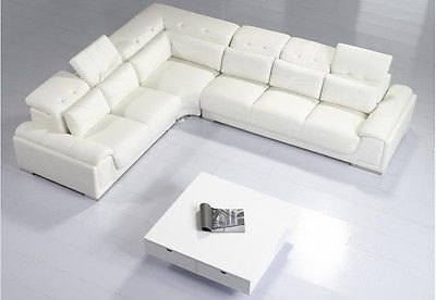 Chic Modern T93c White Leather Sectional Sofa Contemporary Design White Leather Couch White Leather Sofas Modern Leather Sectional Sofas