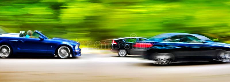 Cars In Blurred Motion On Road Abstract Background Speed Spon