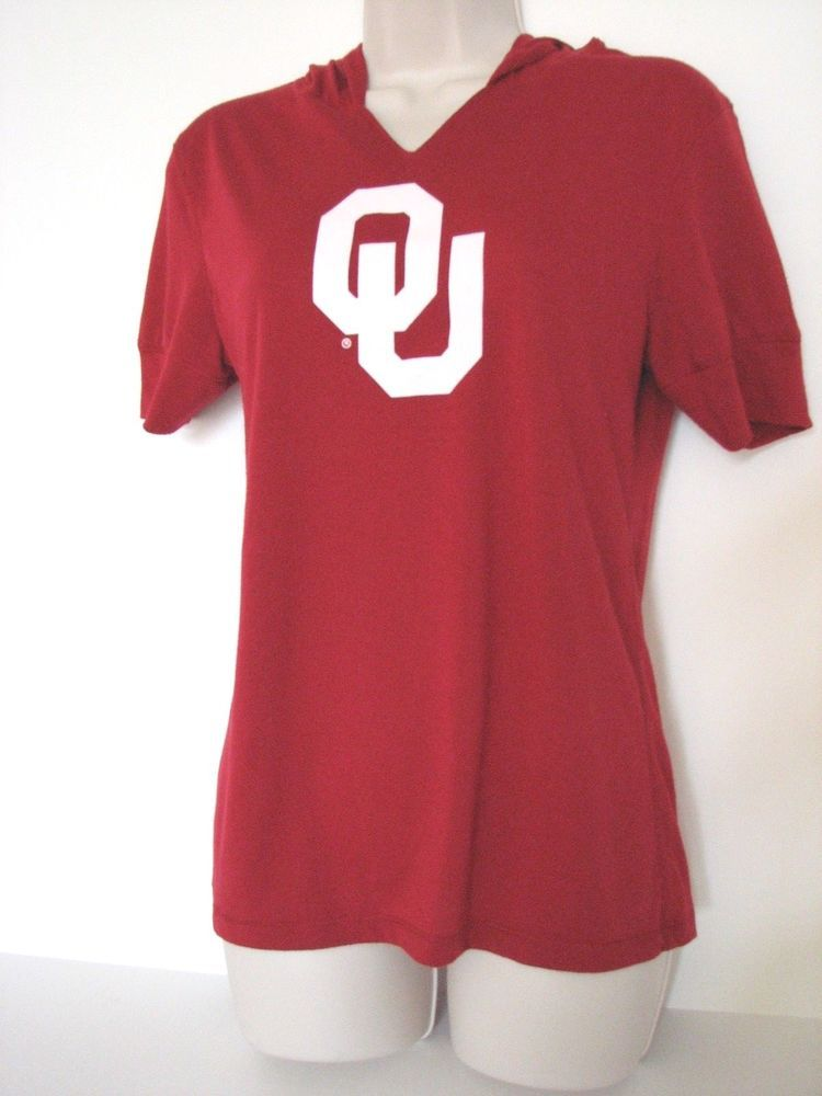 cdc61217cb02 Oklahoma OU Colosseum Hooded Short Sleeve Red Women Shirt L Sooners   ColosseumAthletics  OklahomaSooners