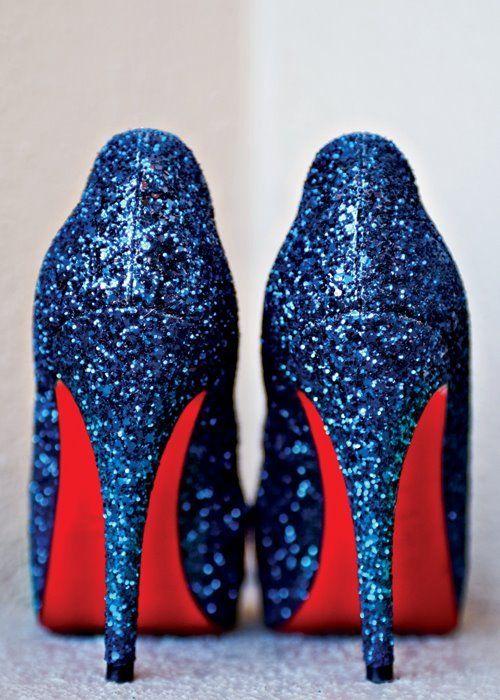 Blue Glitter Louboutins | Bridal shoes