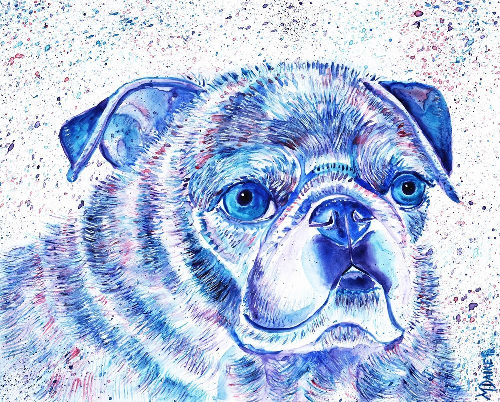 Pug Dog Canine Original Abstract Watercolor Pet Art