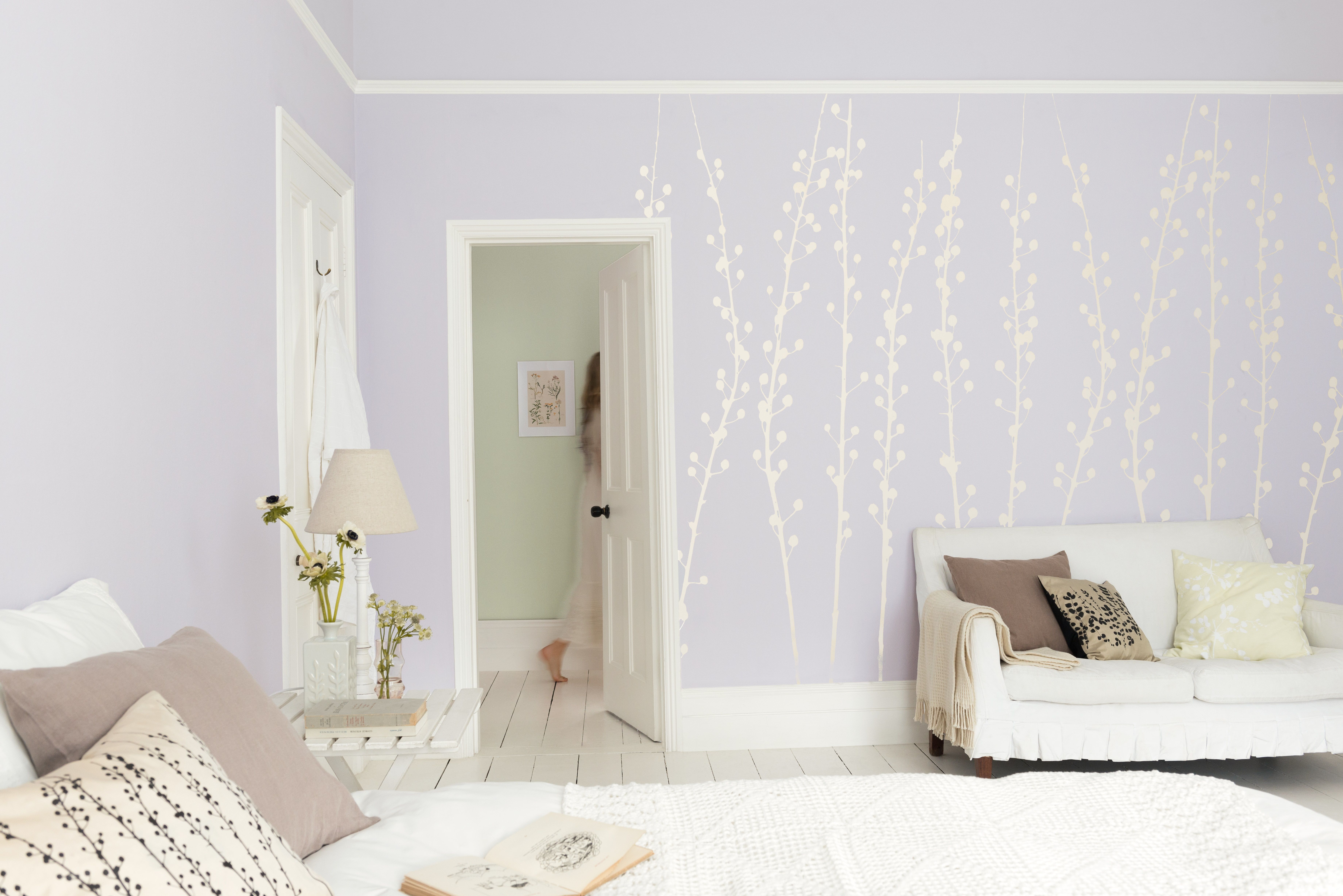 My perfect living room walls in dulux english lavender for Lilac living room walls