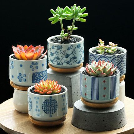 2 Pieces A Lot Japanese Wind Small Ceramic Pots In Flower Pots Planters From Home Garden On Alie Ceramic Succulent Stacked Flower Pots Ceramic Flower Pots