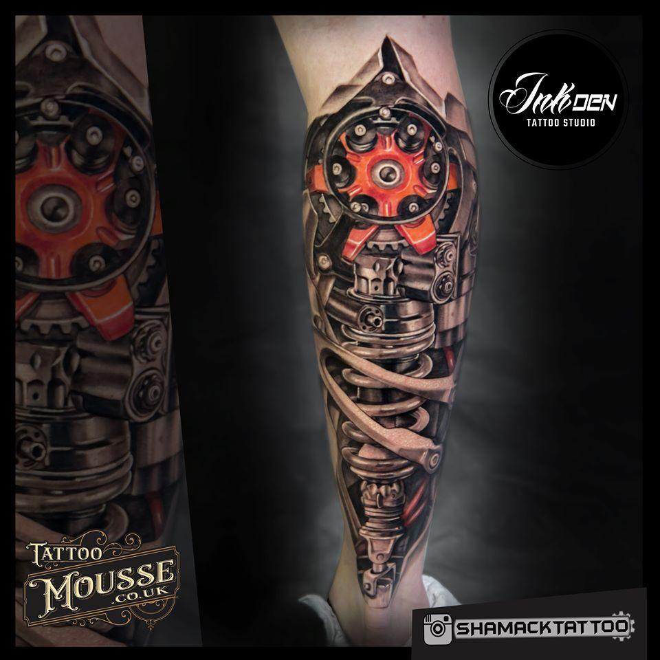 Bio Mechanical Piece Tatuagem Braco Mecanico Tatuagem Na Perna Tatuagens Perna
