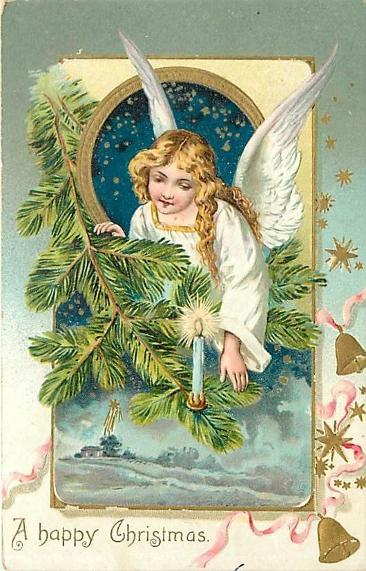 Christmas Angel in Tree Candle Snow Tuck K56011 | eBay