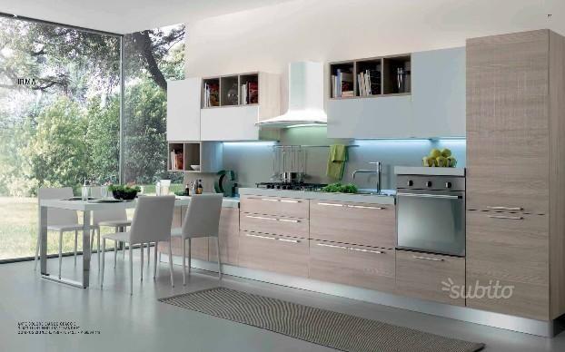 Cucine Componibili Con Tavolo A Scomparsa.Cucina Lineare Cm 390 Con Tavolo Estraibile Arredo Cucina