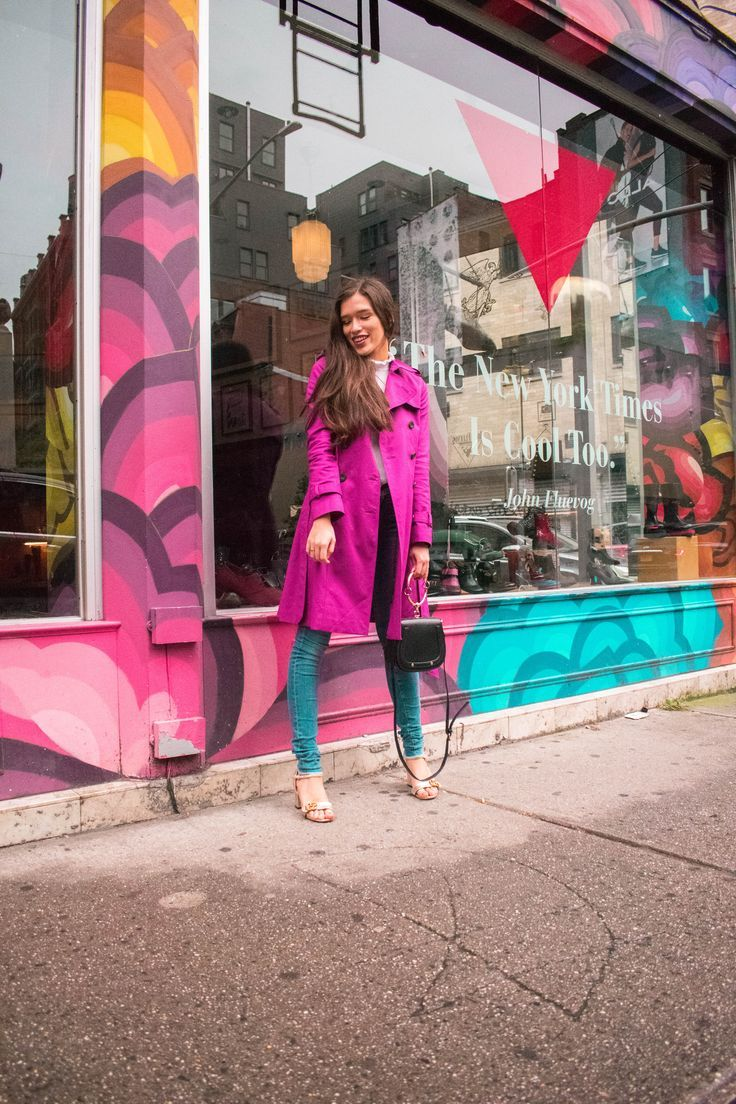 19dc6745183 Style and travel blogger Eva Phan of Eva Darling on how to style a colorful  trench coat at Little Cupcake Bakeshop magenta hobbs trench coat rain  jacket ...