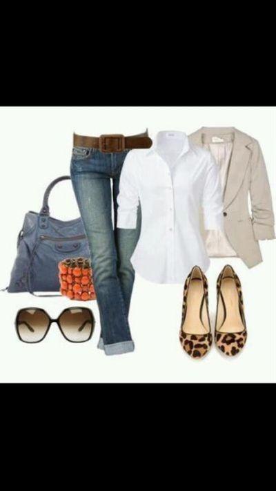 light elbow sleeve blazer + basic layer + long rolled jeans + flats