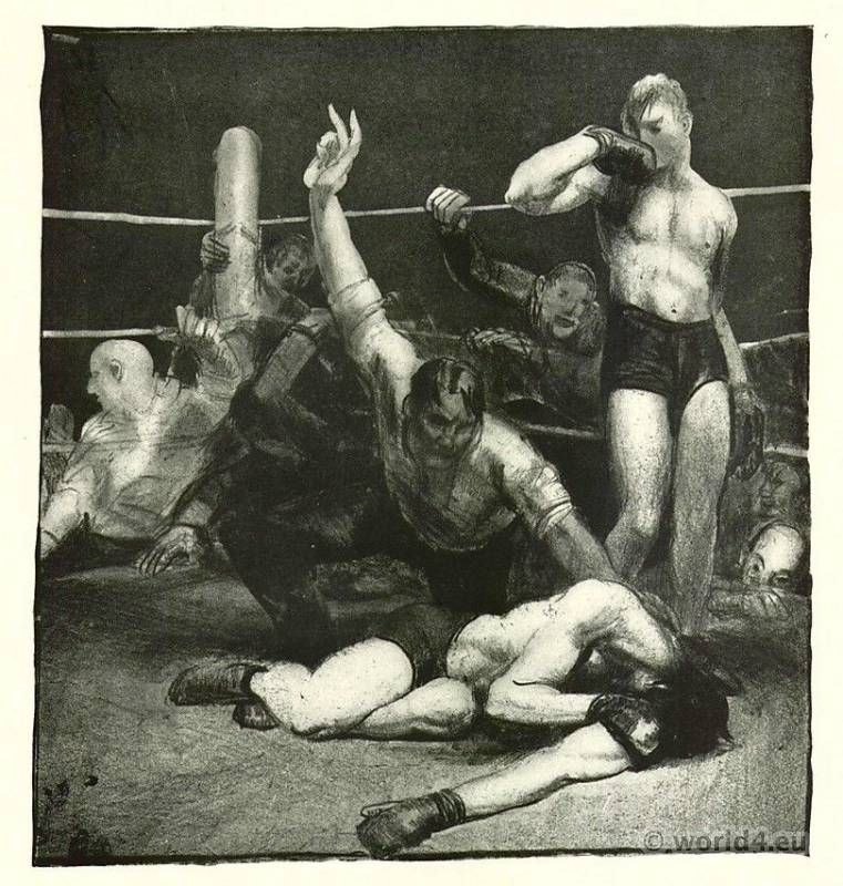 BOXER BOXING FIGHT RING GEORGE BELLOWS PAINTING REAL CANVAS GICLEE ART PRINT
