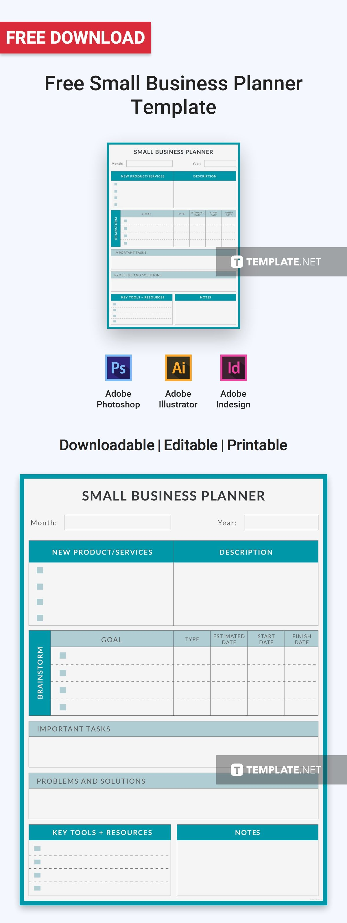 Free Small Business Planner Business planner, Planner
