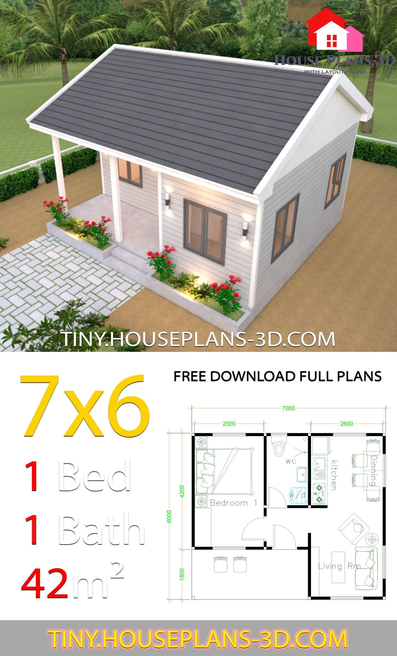 Tiny House Plans 7x6 With One Bedroom Gable Roof Tiny House Plans One Bedroom House Tiny House Plans One Bedroom House Plans