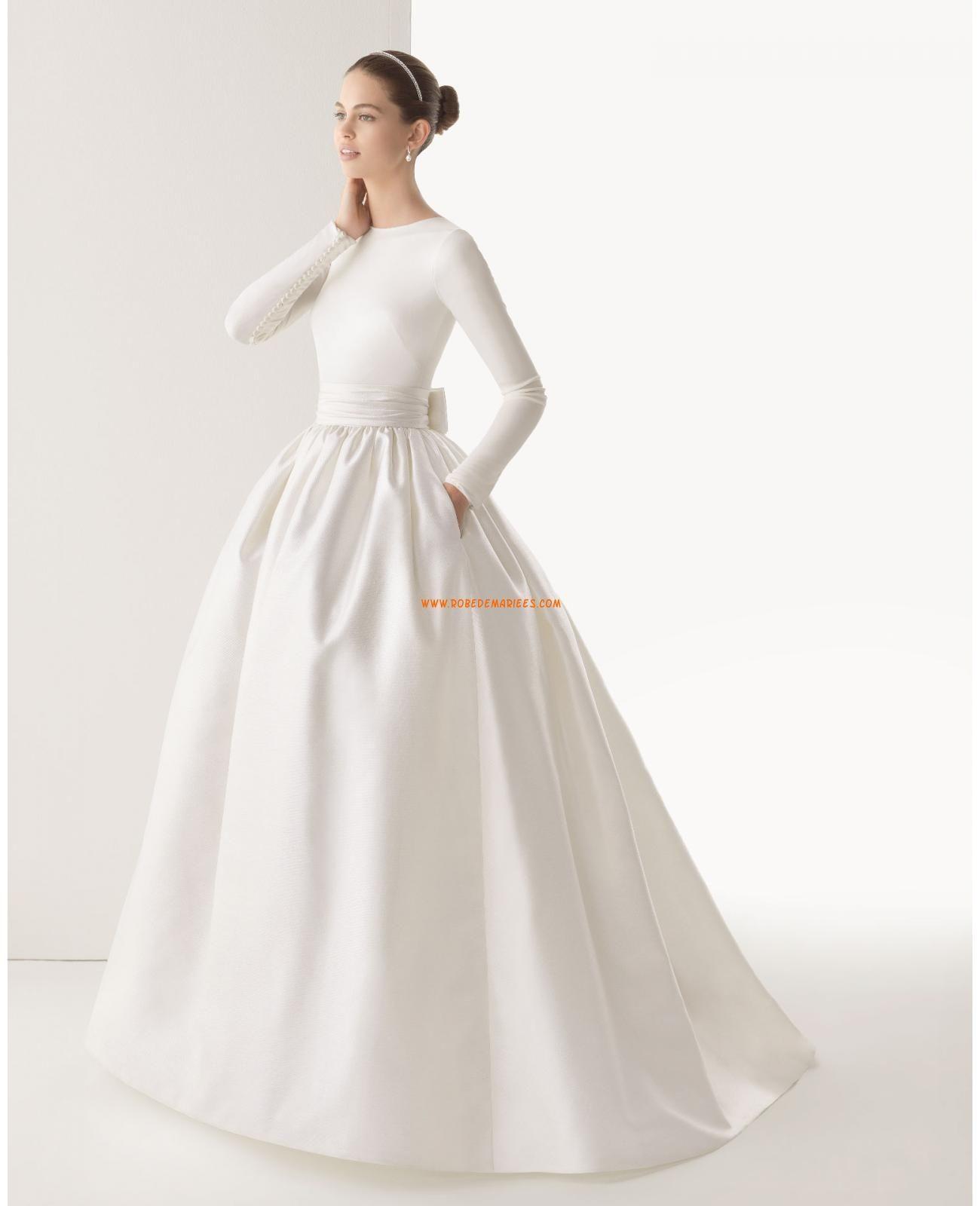 Robe de mariée princesse satin avec manches longues Plus