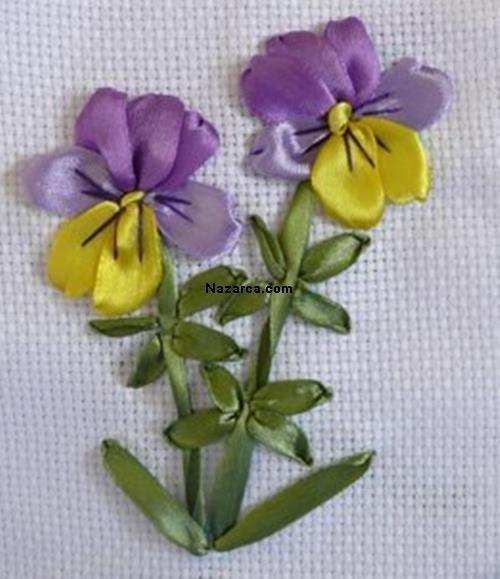 KOLAY KURDELE NAKIŞI ÇİÇEK YAPILIŞI RESİMLİ ANLATIM #ribbonflower