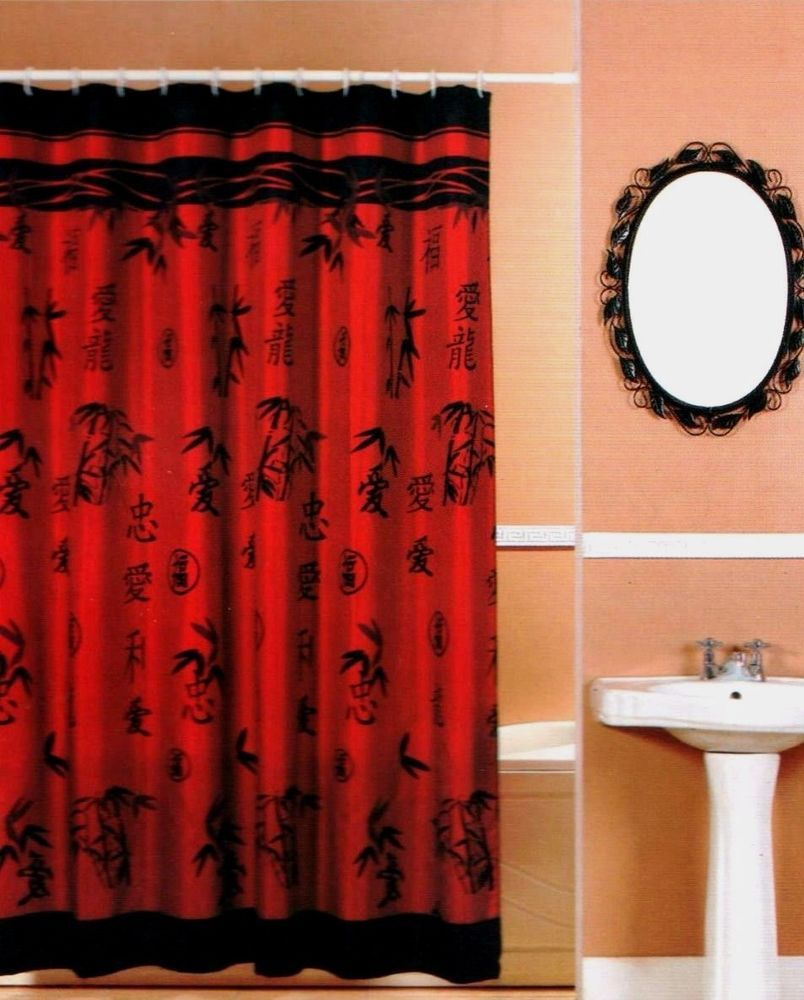 Asian Bamboo Oriental Red Black Fabric Shower Curtain Popular Bath